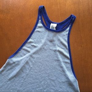 Free People High Neck Blue + Gray Tank Top